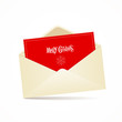 Envelope and red card merry christmas, vector