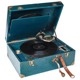 Vintage blue boxed turntable isolated on white