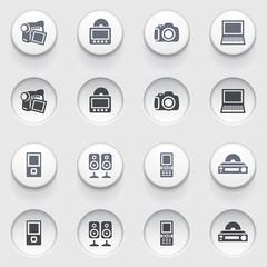 Electronics web icons on white buttons. Set 1.