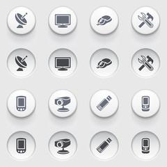 Electronics web icons on white buttons. Set 2.