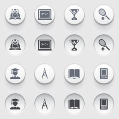Education icons on white buttons. Set 1.
