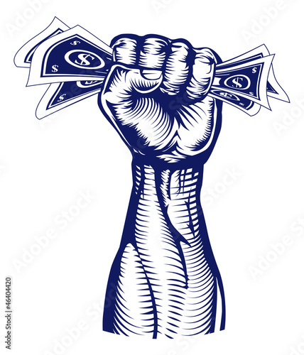 Fist holding up money