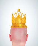 Illustration of realistic bald head with golden crown