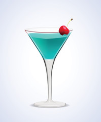 Illustration of realistic Martini Cocktail Glass