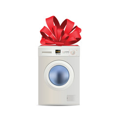 Illustration of realistic washing machine gift with red ribbon