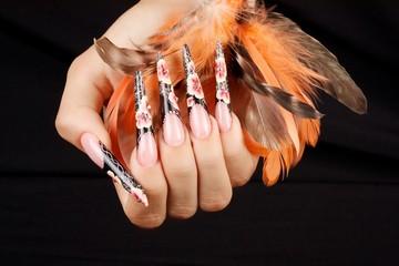 Stiletto handnails with one stroke flowers
