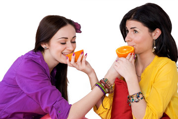 girl and citrus fruits