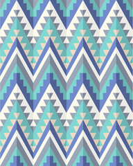 Seamless aztec pattern in blue tints