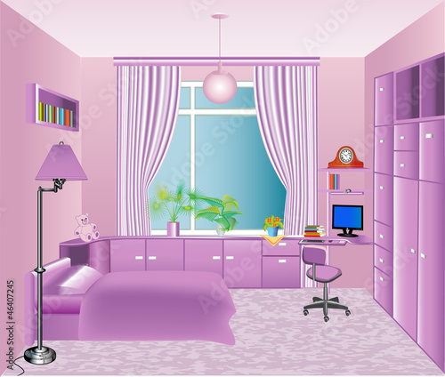 illustration of the interior children's room in pink