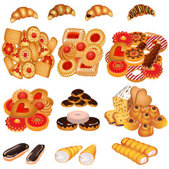 set tasty sand cookies and cake