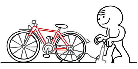 figur pumpt fahrradpneu auf