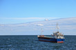 Lone cargo ship at sea