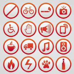 Vector warning signs with red icons