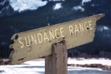 Signpost to sundance mountain range