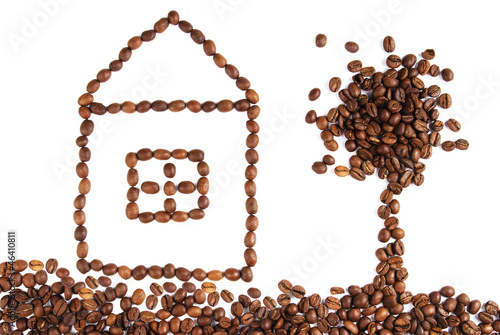 Fotobehang Koffiebonen House and tree made with coffee beans
