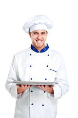 Chef holding an empty dish