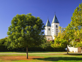 towers of the church of St. James in Medjugorje, Bosnia and Herz