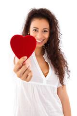 Frau isoliert mit Herz