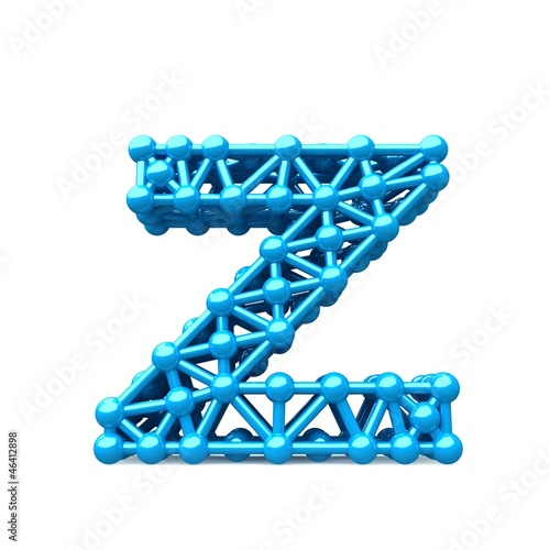 blue letter from the frame, which resembles a molecule