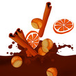 Vector Choco Splash with Hazelnuts, Oranges and Cinnamon