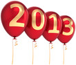 New Year 2013 party balloons decoration red gold colorful