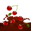 Vector Illustration of a Choco Splash with Cherries