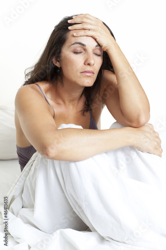 Beautiful woman suffering from headache