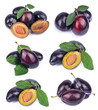 collage from fresh plums