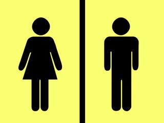 Piktogramm Mann Frau gelb schwarz