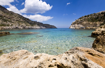 Scenic beach at Rodos island, Greece