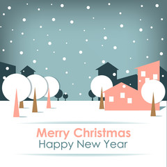 New Year's card on grey background with snow, trees and houses.