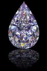 Diamond of drop shape on glossy black