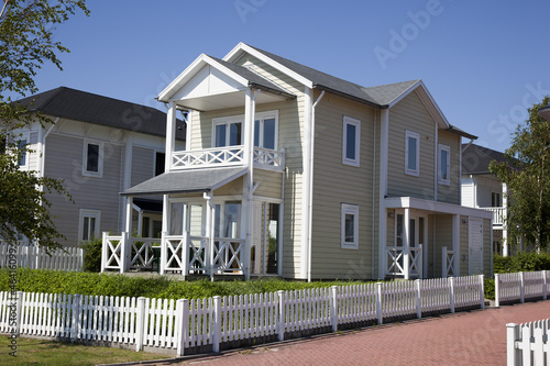 wooden house with blue sky