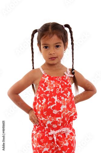 joli petite fille avec couettes de dreana photo libre de droits 46416601 sur. Black Bedroom Furniture Sets. Home Design Ideas