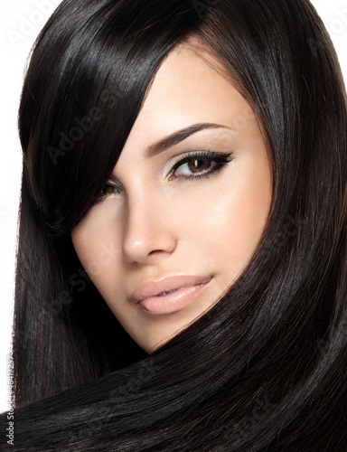 Beautiful woman with straight hair