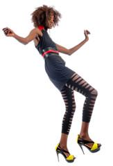Beautiful black woman dancing and having fun
