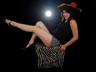 Sexy pirate kicking her feet up