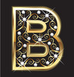 B gold letter with swirly ornaments