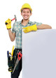 Construction worker with blank space