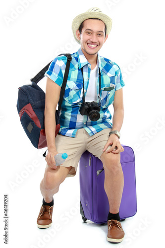 young traveler smiling