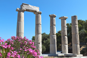 Ancient temple at Samothraki island in Greece