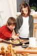 kids preparing a yeast dough