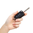 woman hand on isolated background holding car key