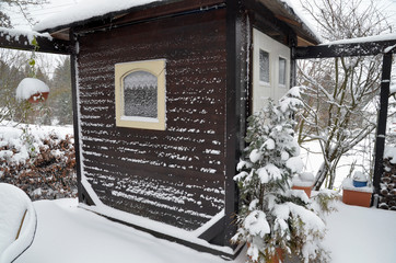 Garten Hütte im Winter