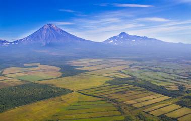 aerial image of volcano Koryak Sopka