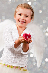 Christmas, Angel - lovely little girl celebrating Christmas