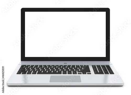 Metal laptop with blank screen