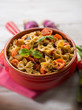 pasta with eggplants and pachino tomatoes, selective focus