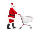 Santa Claus pushing an empty shopping cart