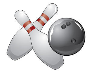 Bowling Ball With Two Pins